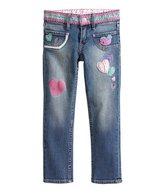 Slim Jeans (broderi, hjerter) str. 116