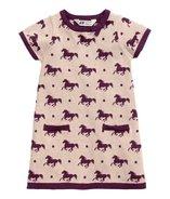 Strikket kjole lys rosa heste str. 98-104